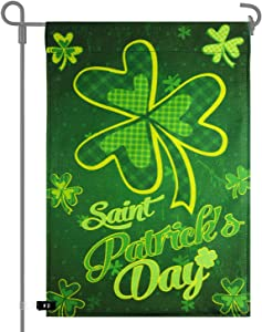 TUPARKA Happy St. Patrick's Day Garden Flag Decorative Clovers Irish Green Shamrocks Flag for Garden and Home Decoration 12 x 18 Inches