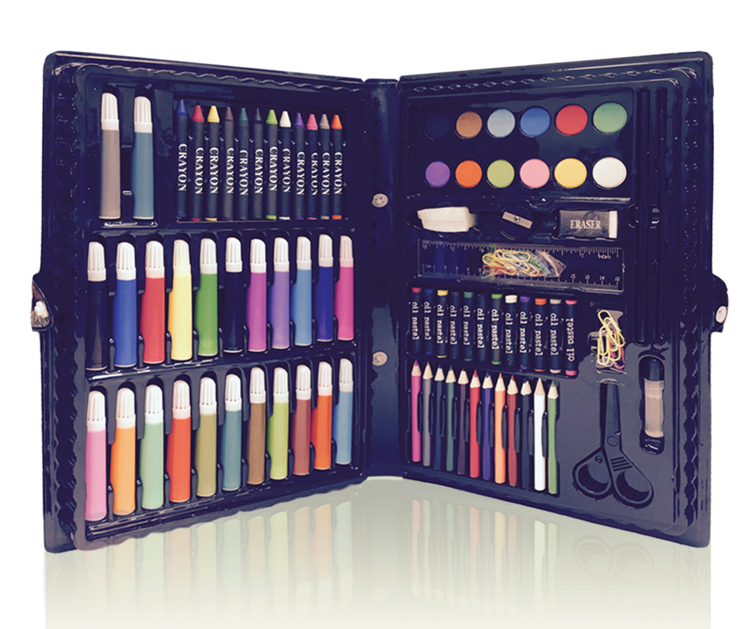 Deluxe Art Set For Kids by ART CREATIVITY - Ideal Beginner Artist Kit Includes 101 Pieces - Watercolor, Crayons, Colored Markers, Color Pencils & More + Bonus Coloring Book