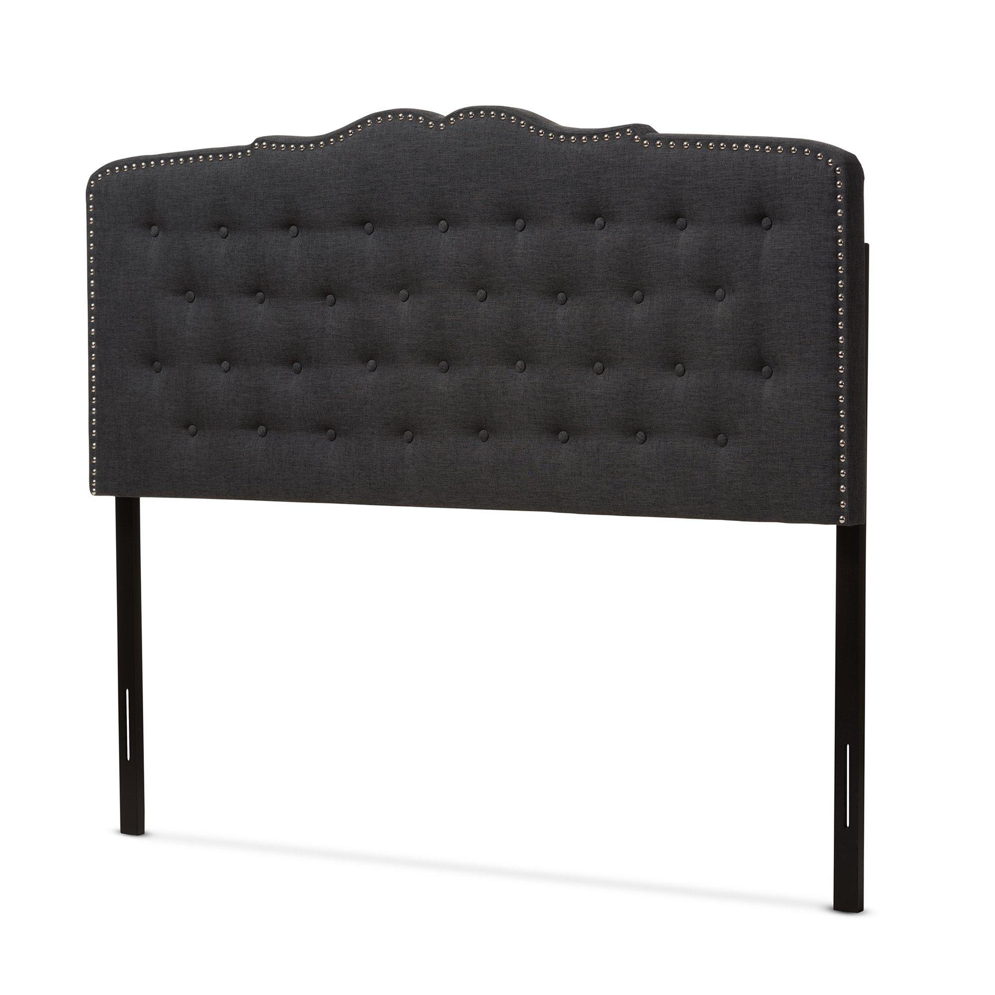 Baxton Studio Karessa Modern & Contemporary Dark Grey Fabric King Size Headboard by Baxton Studio