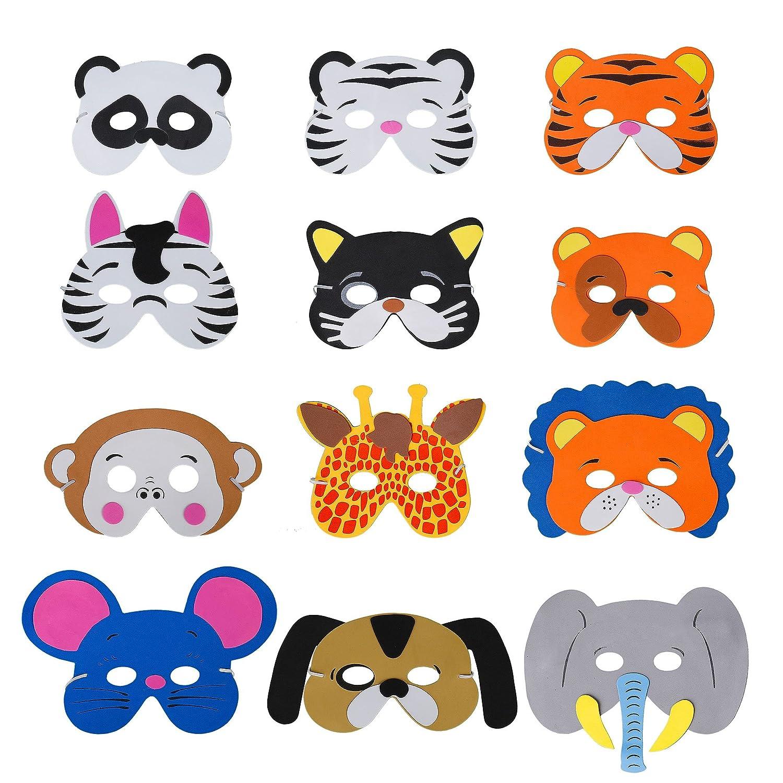 QIMEI-SHOP Máscaras de Animal 12 x Niños Eva Foam Máscaras con Cuerda Elástica Máscaras de Ojos para Fiesta de cumpleaños Tema