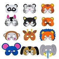 QIMEI-SHOP Masque Animal 12 Pièces Masque de Mousse d'enfants la Corde élastique la Partie à thème de représentations d'étape d'anniversaire
