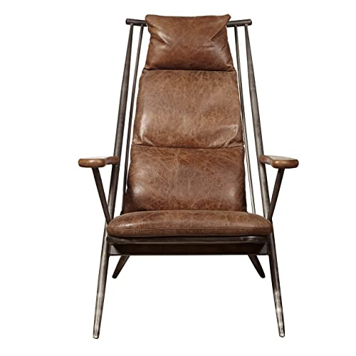 Pulaski Modern Industrial Metal and Leather Accent Lounge Chair