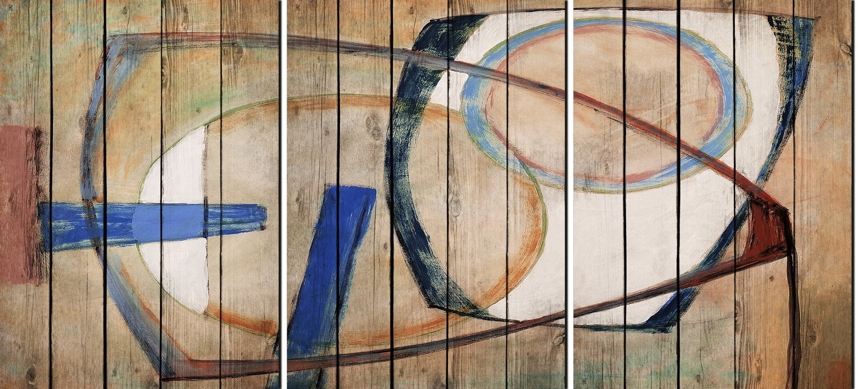 Artestock Triptych Code, Wood, multicoloured, 70x 50x 3.4cm 202924 -15070