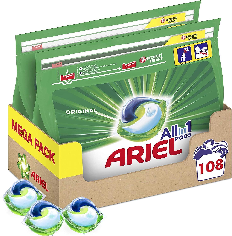 Ariel Pods Allin1 Detergente en Cápsulas para Lavadora, Original, 108 Lavados (2 x 54)