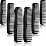 12 Pieces Black Combs Hair Combs Set Pocket Fine Plastic Hair Combs for Women and Men, Black Coarse, Fine Dressing Comb