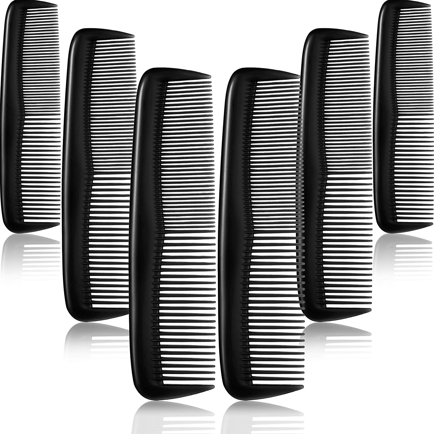 12 Pieces Hair Combs Set Pocket Fine Plastic Hair Combs for Women and Men, Fine Dressing Comb (Black)