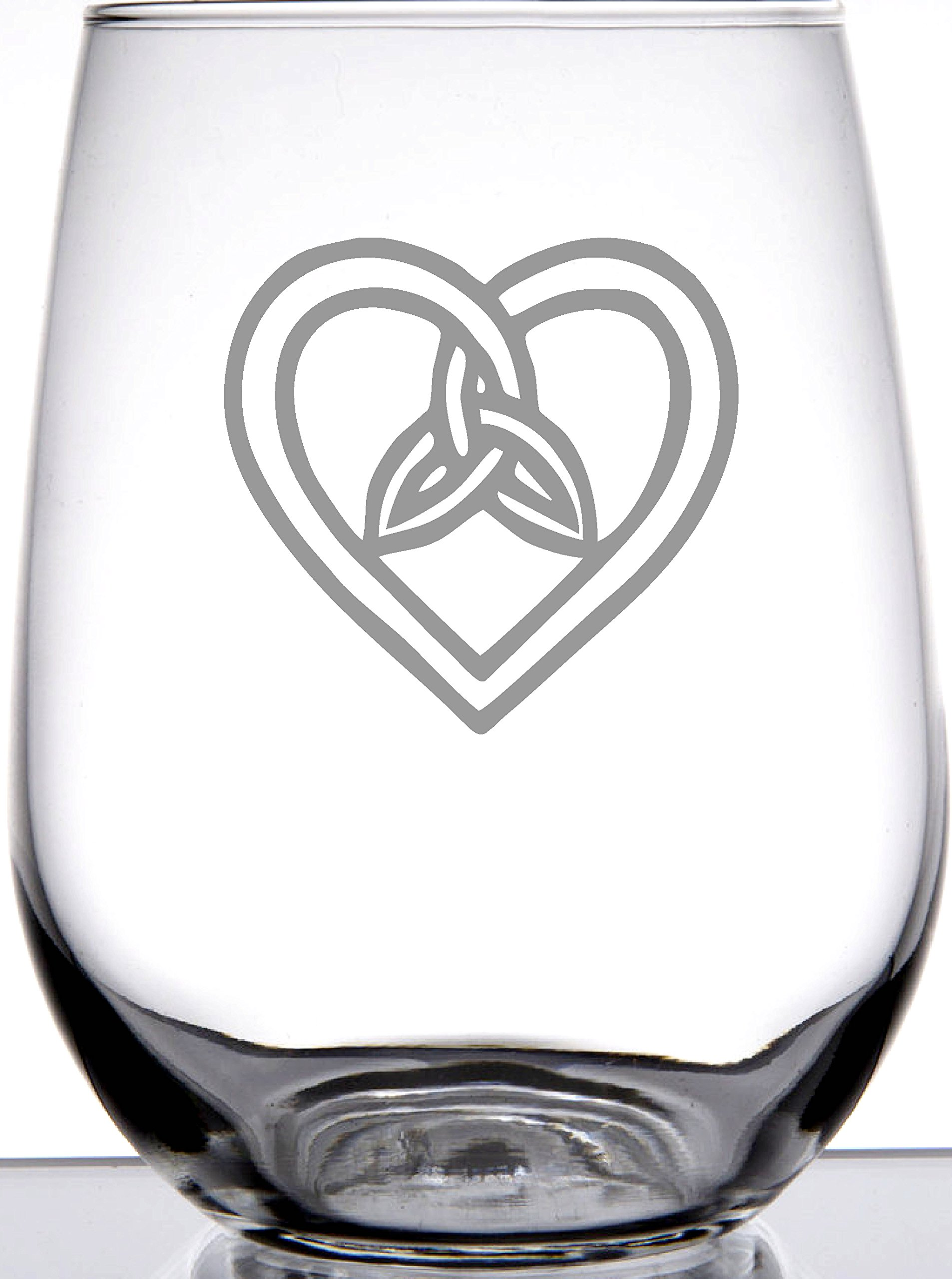 IE Laserware Irish Celtic Heart and Trinity Knot Laser Etched Engraved Wine Glass, 17 Ounce Stemless Wine Glass, Great Irish Gift