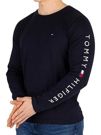 cc587fd9a95fa Tommy Hilfiger Homme T-Shirt à Manches Longues, Bleu, Medium