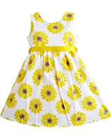 Sunny Fashion Girls Dress Yellow Sunflower School Uniform Sundress Party