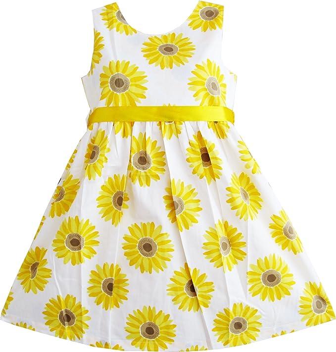 Amazon sunny fashion girls dress yellow sunflower school amazon sunny fashion girls dress yellow sunflower school uniform sundress party clothing mightylinksfo