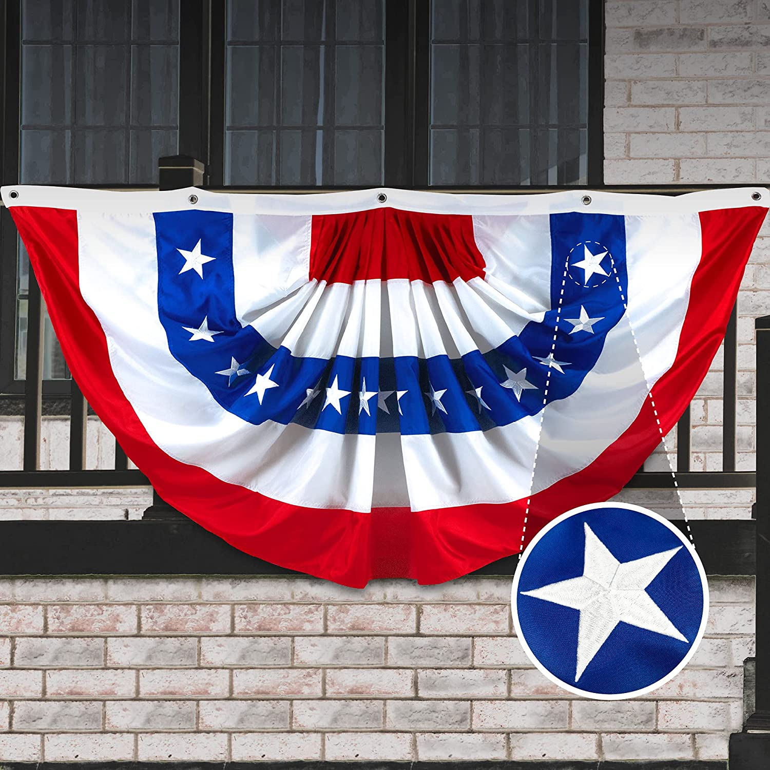 G128 - USA Pleated Fan Flag, 5x10 Feet American USA Bunting Decoration Flags Embroidered Patriotic Stars & Sewn Stripes Canvas Header Brass Grommets