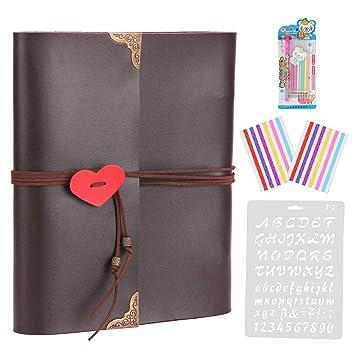 ThxMadam DIY Álbum de Fotos de Piel Libros de Firmas para Boda Scrapbooking Album Cuaderno de Cuero Diario de Viaje Vintage Regalo Original para ...