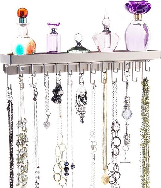 Amazon Com Angelynn S Wall Mount Hanging Necklace Holder Earring Ring Bracelet Jewelry Organizer Closet Storage Rack Tray Schelon Satin Nickel Silver Home Kitchen