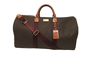 dd399259cac7 Image Unavailable. Image not available for. Color  Michael Kors Michael  Kors Leather Travel Logo Duffle Large Bag Printed Duffel Luggage