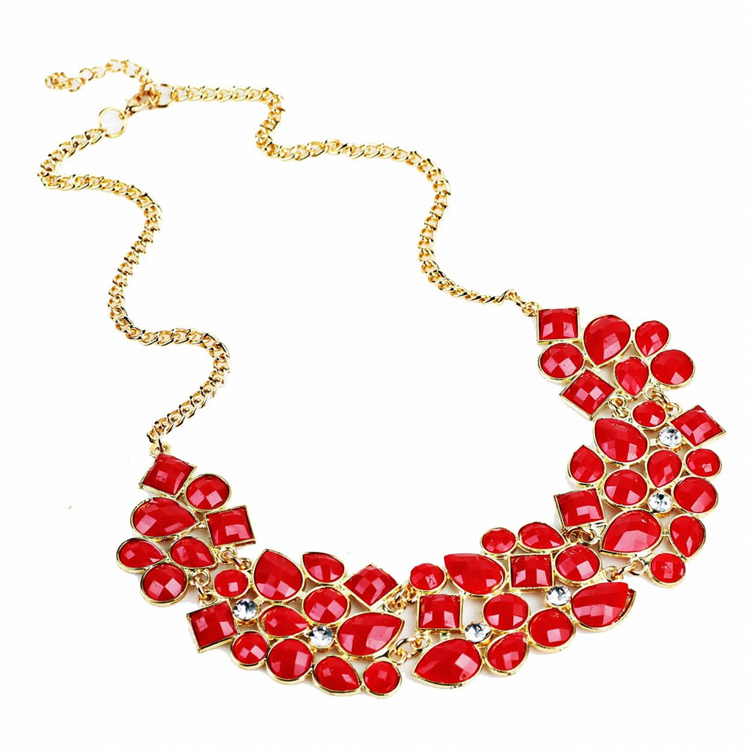 Brighty-U Europe and the United States retro luxury geometric splicing fluorescent color fashion wild color necklace European and American necklace