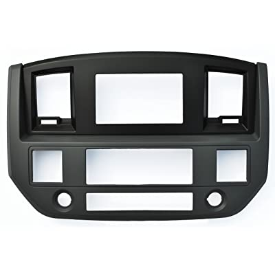 SLATE GREY Black and Silver Aftermarket Stereo Radio Double Din Dash Install Kit Compatible with Dodge Ram 2006 2007 2008 2009 (Standard, Black): Automotive