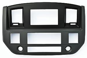 Dodge Ram SLATE GREY Black and Silver Aftermarket Stereo Radio Double Din Dash Install Kit 2006 2007 2008 2009 (Standard, Black)