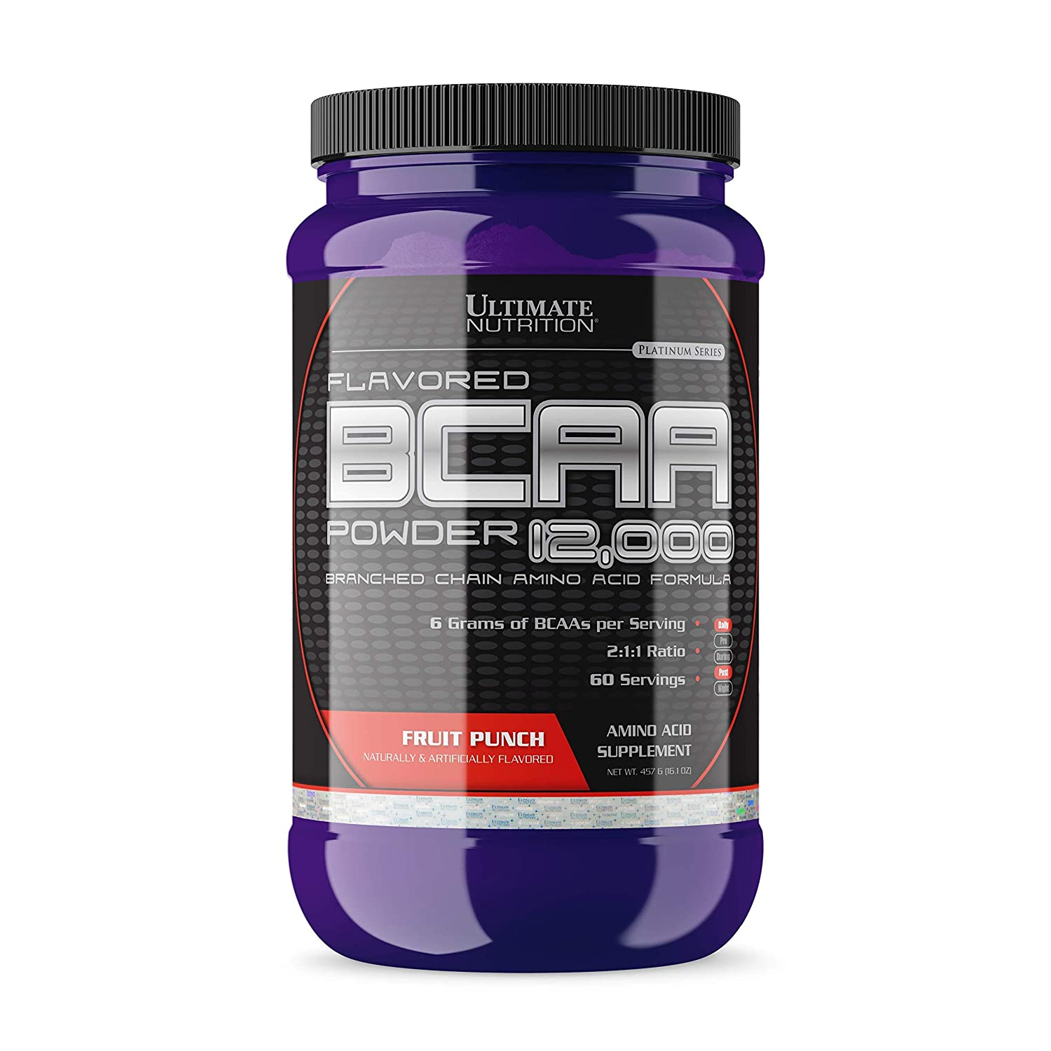 Ultimate Nutrition Flavored BCAA 12,000mg Branched Chain Amino Acid Supplement Powder, Fruit Punch, 457g