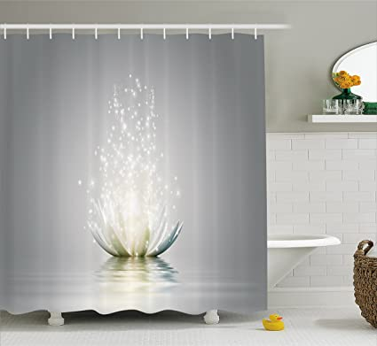 Ambesonne Lotus Shower Curtain By Petals Surreal Boho Inspiration Relax Exotic Waterlily Picture