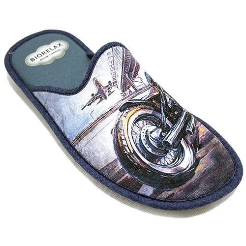 Cosdam 1510 - Zapatillas de Estar Por Casa Hombre Verano Biorelax con Moto Azul Marino: Amazon.es: Zapatos y complementos