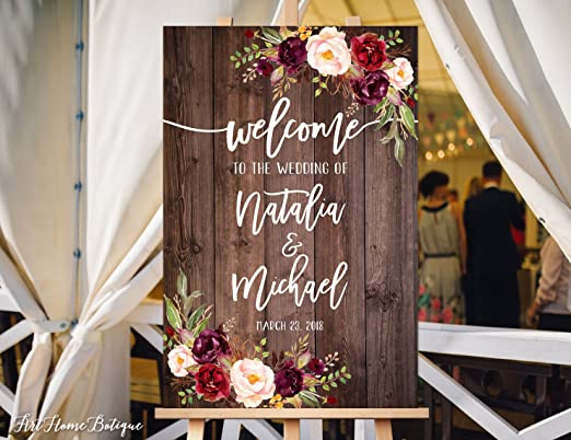 Rustic Vintage Dark Grey Purple Blossom Personalised Welcome Wedding Sign