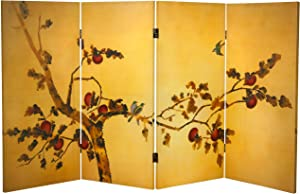 Oriental Furniture 3 ft. Tall Double Sided Birds on Plum Tree Canvas Room Divider