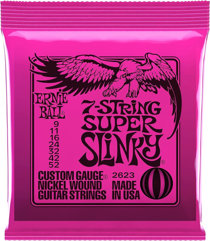 Ernie Ball Super Slinky Cuerdas para guitarra eléctrica de 7 cuerdas, níquel - 9-52 Calibre