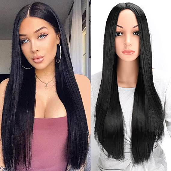 Amazon Com 28 Inch Long Straight Black Hair Wigs For Women Fashion Hair Cosplay Party Daily Hair Wig Black Beauty