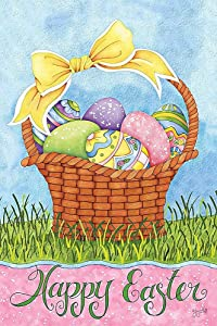 Staroind Mini Garden Flag -Easter Basket, Exclusive Artwork by Joy Hall - All-Weather, Fade-Resistant Polyester - 12 w x 18 h