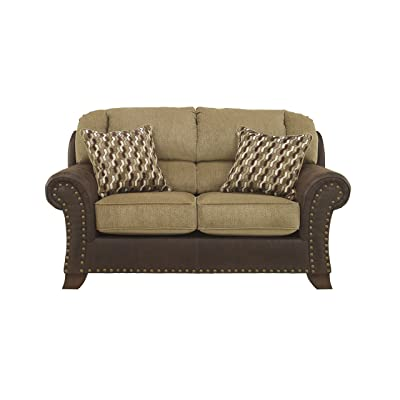 Benchcraft - Vandive Contemporary Living Room Loveseat - 2 Accent Pillows Included - Sand Brown