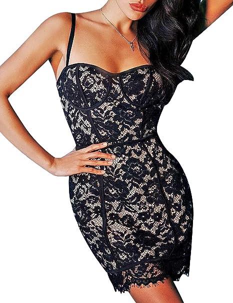 Amazoncom Hego Womens Black Embroidery Lace Spaghetti