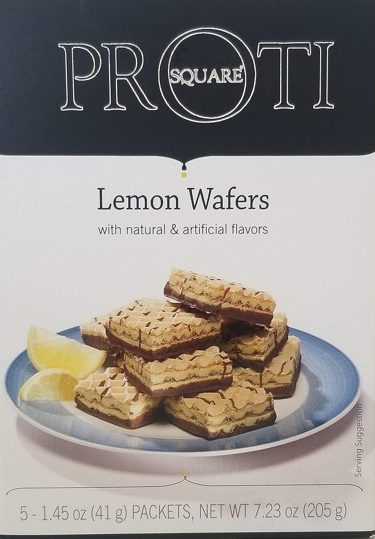 Proti Fit High Protein Wafer Bar - Lemon (5 Servings/Box) - Trans Fat Free, Aspartame Free, Cholesterol Free