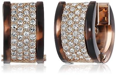7a5836100a57 Michael Kors MKJ4738 Rose Gold-Tone Tortoise-Look Pave Huggie Hoop Earrings   Amazon.co.uk  Jewellery