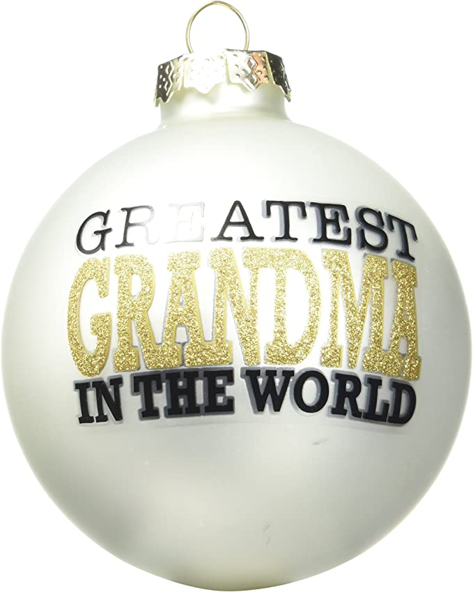 Enesco Our Name Is Mud Greatest Grandma Gold Glass Christmas Hanging Ornament 4 Inches Home Kitchen