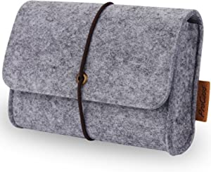 ProCase Felt Storage Case Bag Accessories Organizer for MacBook Laptop Mouse Power Adapter Cables Computer Electronics Cellphone Accessories Charger SSD HHD -Silver Grey