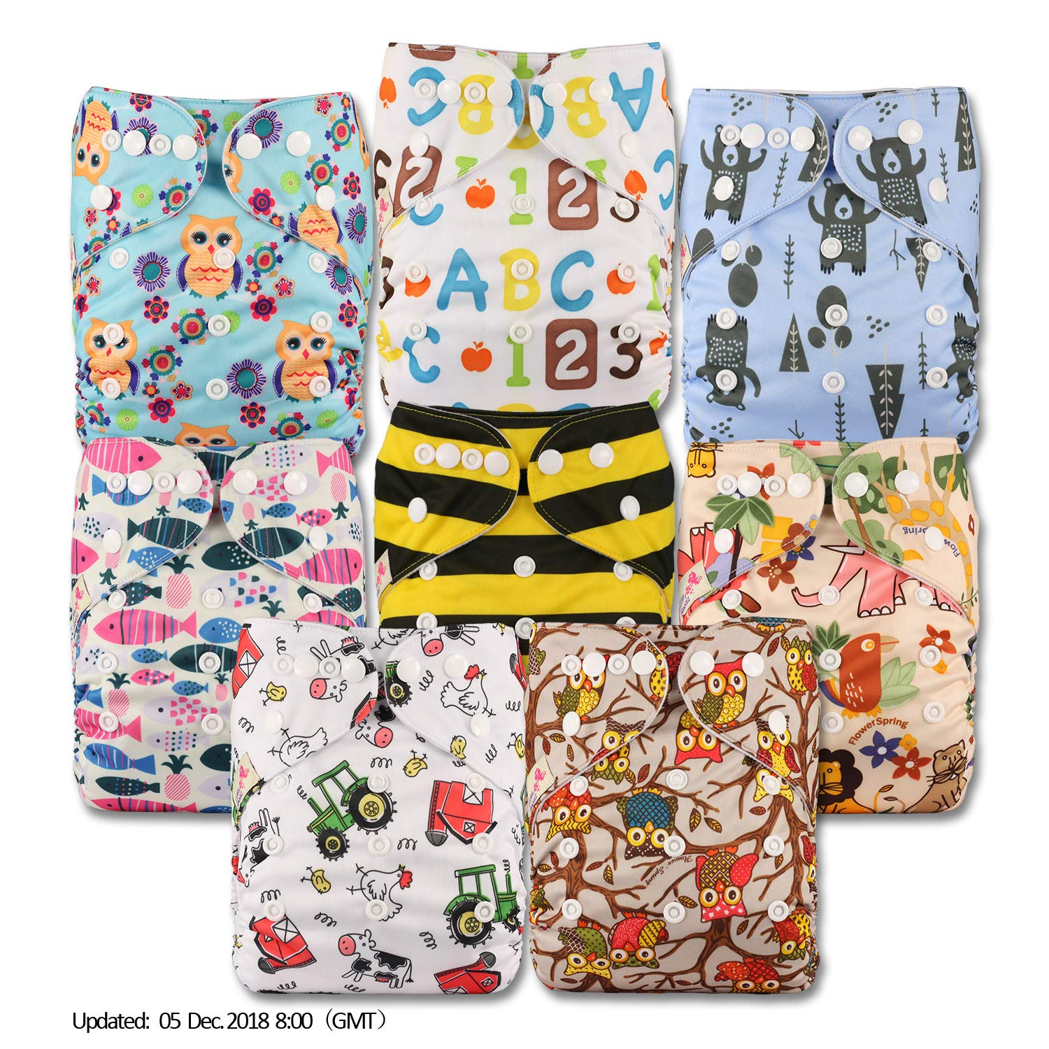 Patterns 810 with 16 Bamboo Inserts Set of 8 Fastener: Popper Reusable Pocket Cloth Nappy Littles /& Bloomz