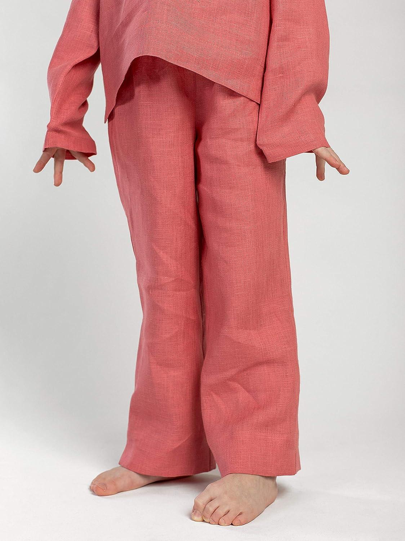 ETNODIM Girls Pajamas Set Long Sleeve Pants Girls Linen Grey Peach Beige Pajama Kids