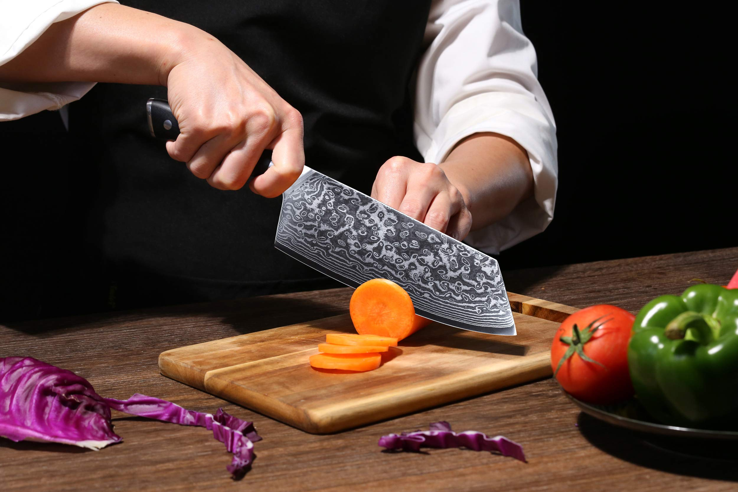TURWHO Cleaver Knife - Japanese VG-10 Damascus Steel - Chinese Chef's Knife for meat and vegetable with Ergonomic G10 Handle - 7.5'' by TURWHO (Image #7)