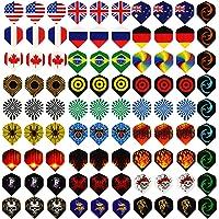 Centaur 30 juegos de plumas de dardo estándar de 90 piezas de plástico PET duradero y 6 protectores de plumas adicionales, bandera nacional al por mayor estilos frescos, suministros de equipo perfecto para juegos de dardos de punta de acero suave