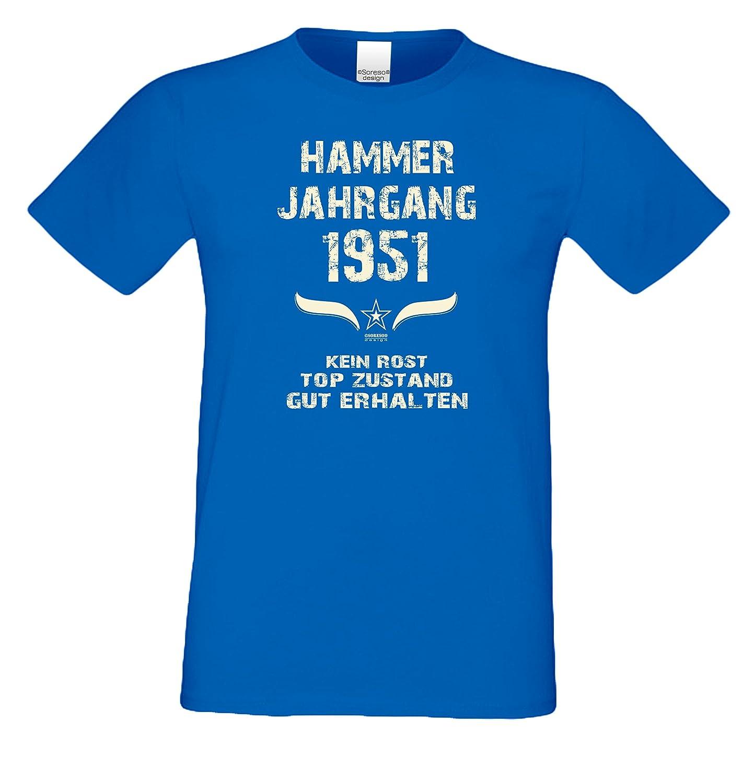 Soreso Design Geburtstags Motiv Herren T-Shirt Geschenk Zum 67. Geburtstag  Hammer Jahrgang 1951 Farbe: Schwarz Blau Rot Grün Braun Auch in Übergrößen  3XL, ...