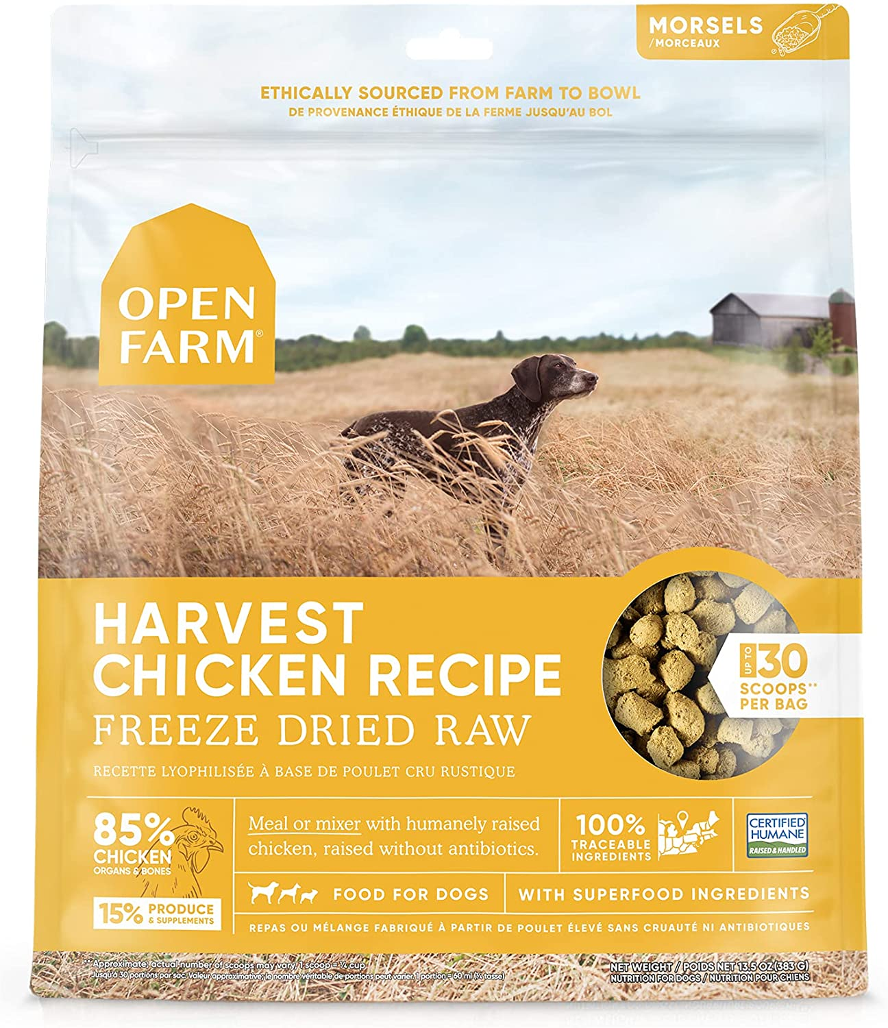 Open Farm Freeze Dried Raw Dog Food, Humanely Raised Meat Recipe with Non-GMO Superfoods and No Artificial Flavors or Preservatives, Harvest Chicken Recipe Freeze Dried - 3.5oz