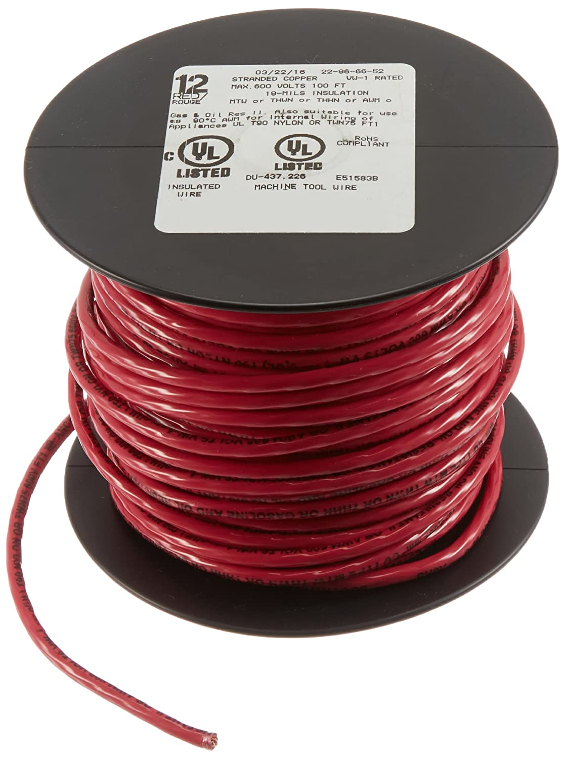 Southwire 22966652 Simpull Thhn or Thwn-2 Standard Wire, 12 Gauge ...
