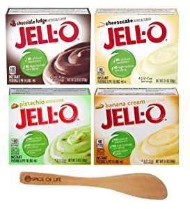 Jell-O Instant Pudding & Pie Filling Variety, Chocolate Fudge, Cheesecake, Pistachio, and Banana Cream , One 3.4 oz Box of Each Flavor with Spice of Life Mini Bamboo Spatula