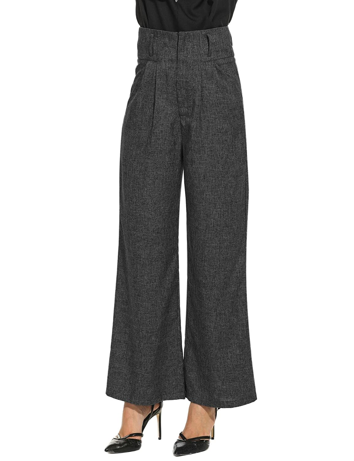 1920s Skirts, Gatsby Skirts, Vintage Pleated Skirts Zeagoo Womens Casual Superline Wide Flare Leg High Waist Zipper Solid Long Pants $27.99 AT vintagedancer.com