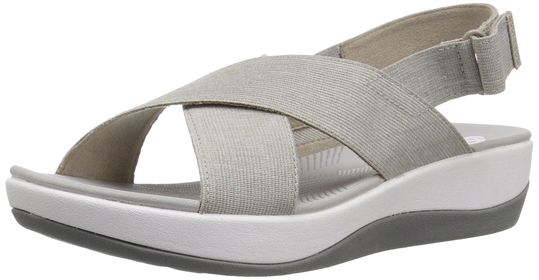 CLARKS Women's Arla Kaydin Sandal, Sand/White Heathered Elastic, 9 Wide US