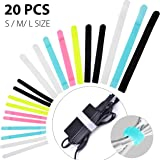 Avantree 20 PCS Reusable Colorful Cable Ties, Cord Fastening Wraps Straps, Hook & Loop, Special Design 3 Different Sizes Wire Organizer Management for Tablet PC TV