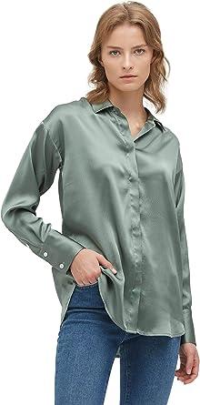 LilySilk Blusa de seda 100% morera para mujer, de manga larga, chic, relajada, de seda Verde Gris y verde. XS: Amazon.es: Ropa y accesorios