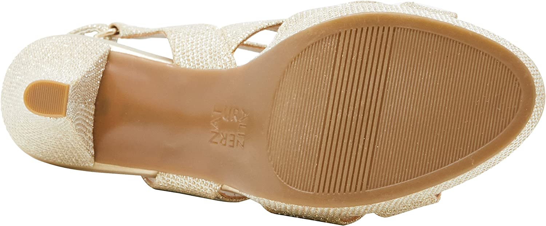 Naturalizer Women's high Heel Platform Sandal Pressley Gold (Platina Glitter)