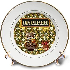 3dRose Beverly Turner Rosh Hashanah Design - Happy Rosh Hashanah, Bear on Barrow, Honey Jar, Basket of Apples - 8 inch Porcelain Plate (cp_325236_1)