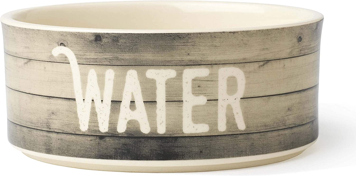 PetRageous 16030 Farm Dog Dishwasher Safe Stoneware Dog Water Bowl 6-Inch Diameter 2.5-Inch Tall 2.5-Cup Capacity for Medium and Large Dogs and Cats, Natural, Off-White
